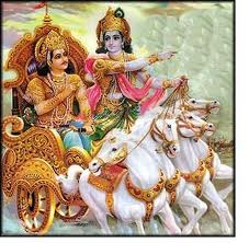 Sri Krishna telling bhagavad gita karma yoga bhakti yoga to arujuna on the battlefield