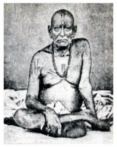 Original photo: Swami Samarth sitting by himself in usual pose (1860)