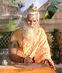 Rishi (sage) writing Veda Upanishads or Shruti revealed truths about Brahman ultimate reality